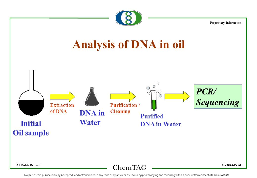 © ChemTAG AS Proprietary Information All Rights Reserved No part of this publication may be reproduced or transmitted in any form or by any means, including photocopying and recording without prior written consent of ChemTAG AS Analysis of DNA in oil Initial Oil sample Extraction of DNA DNA in Water Purification / Cleaning Purified DNA in Water PCR/ Sequencing