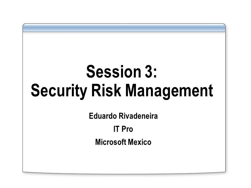 Session 3: Security Risk Management Eduardo Rivadeneira IT Pro Microsoft Mexico