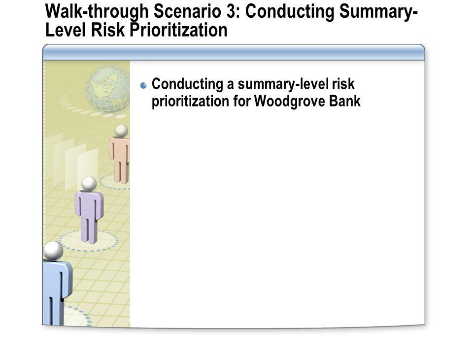 Walk-through Scenario 3: Conducting Summary- Level Risk Prioritization Conducting a summary-level risk prioritization for Woodgrove Bank