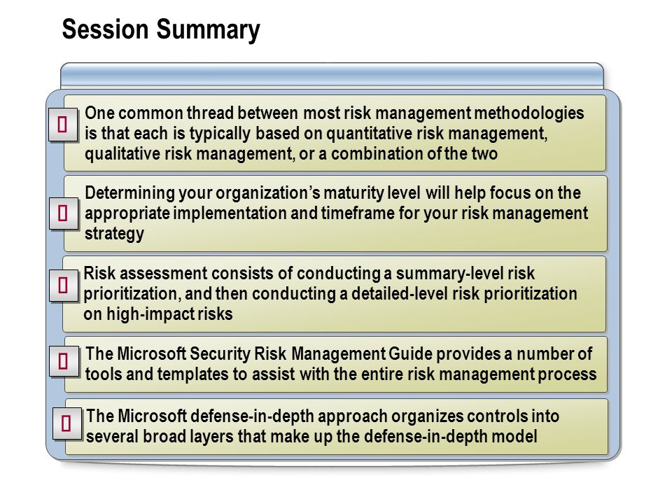 Session Summary One common thread between most risk management methodologies is that each is typically based on quantitative risk management, qualitative risk management, or a combination of the two Risk assessment consists of conducting a summary-level risk prioritization, and then conducting a detailed-level risk prioritization on high-impact risks The Microsoft Security Risk Management Guide provides a number of tools and templates to assist with the entire risk management process The Microsoft defense-in-depth approach organizes controls into several broad layers that make up the defense-in-depth model Determining your organization's maturity level will help focus on the appropriate implementation and timeframe for your risk management strategy