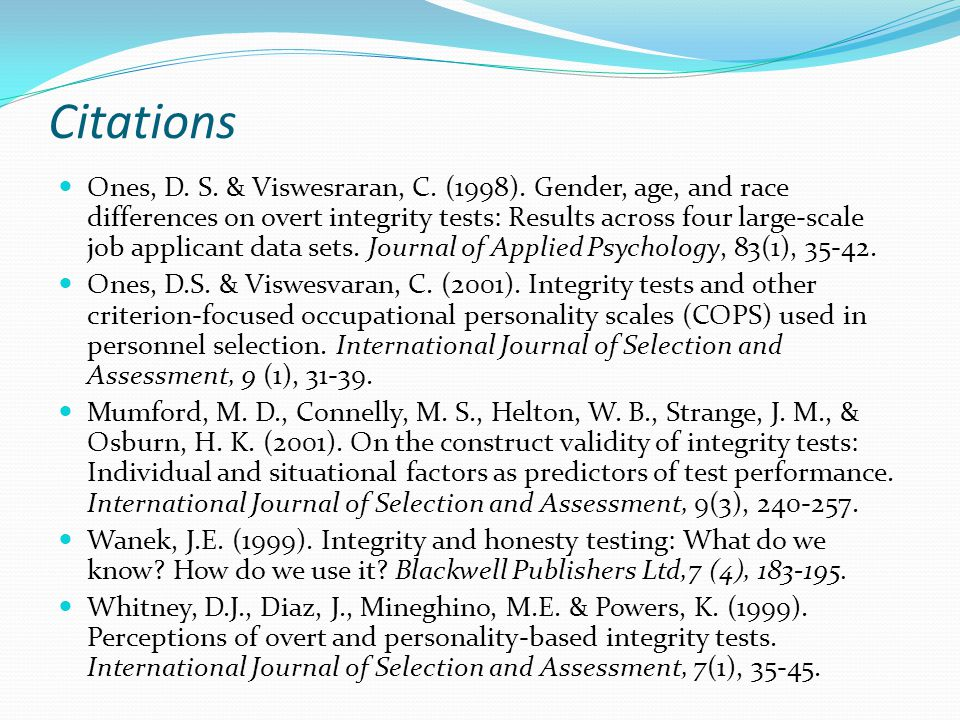 Citations Ones, D. S. & Viswesraran, C. (1998).
