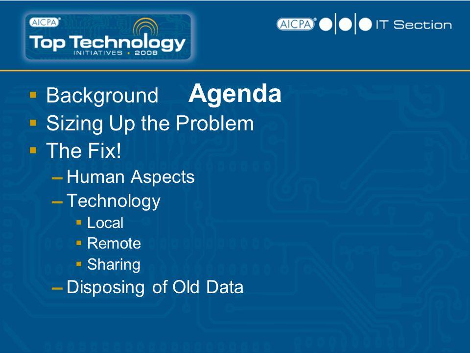 Agenda  Background  Sizing Up the Problem  The Fix.