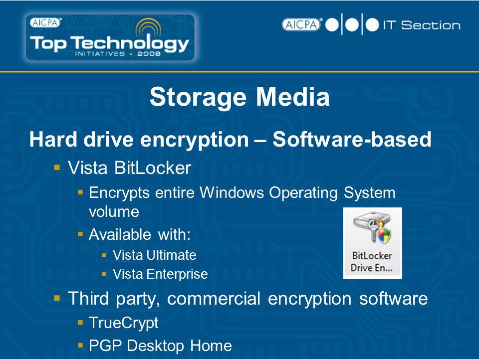 Storage Media Hard drive encryption – Software-based  Vista BitLocker  Encrypts entire Windows Operating System volume  Available with:  Vista Ultimate  Vista Enterprise  Third party, commercial encryption software  TrueCrypt  PGP Desktop Home