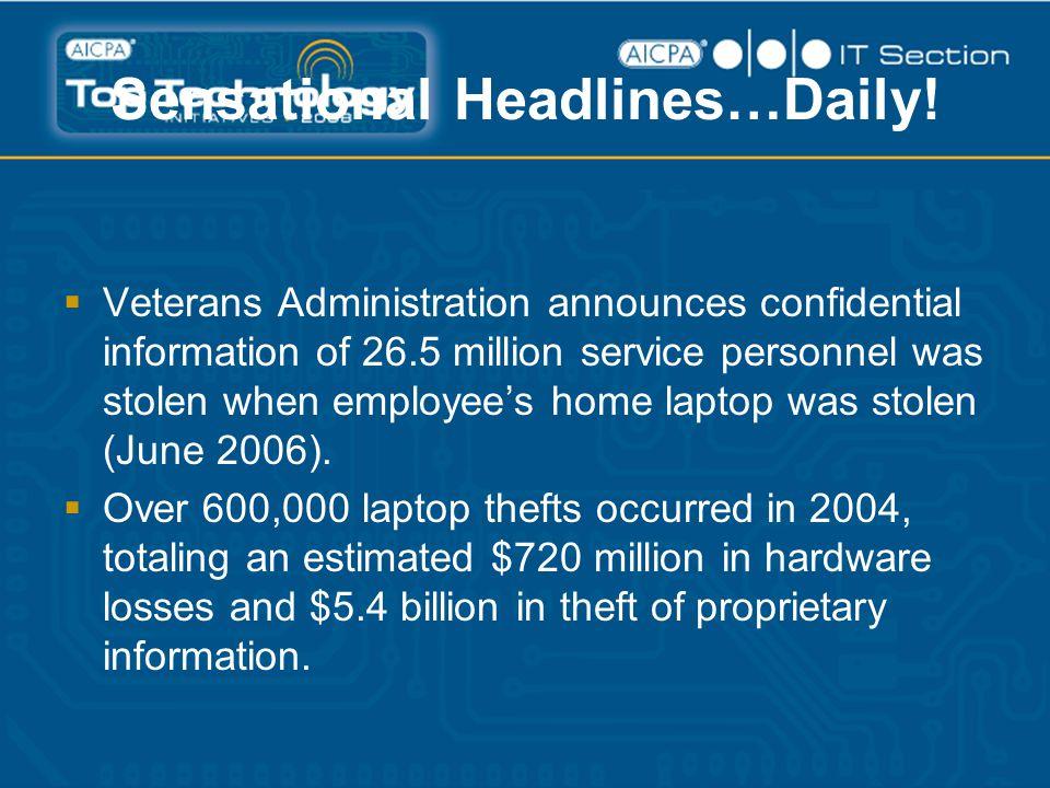 Sensational Headlines…Daily!  Veterans Administration announces confidential information of 26.5 million service personnel was stolen when employee's