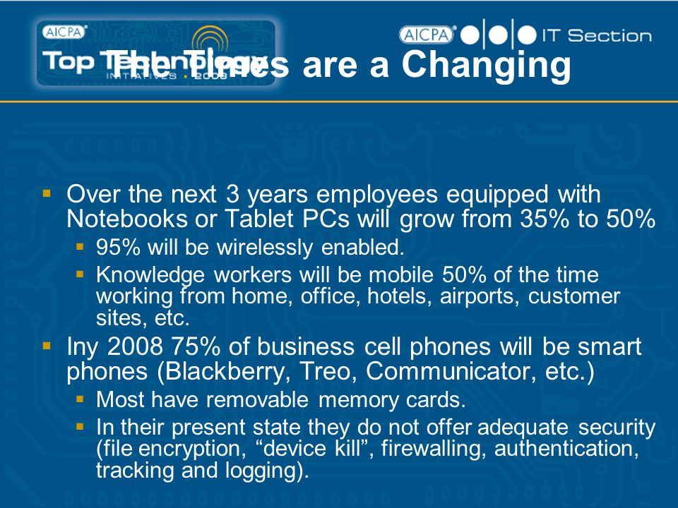 The Times are a Changing  Over the next 3 years employees equipped with Notebooks or Tablet PCs will grow from 35% to 50%  95% will be wirelessly enabled.