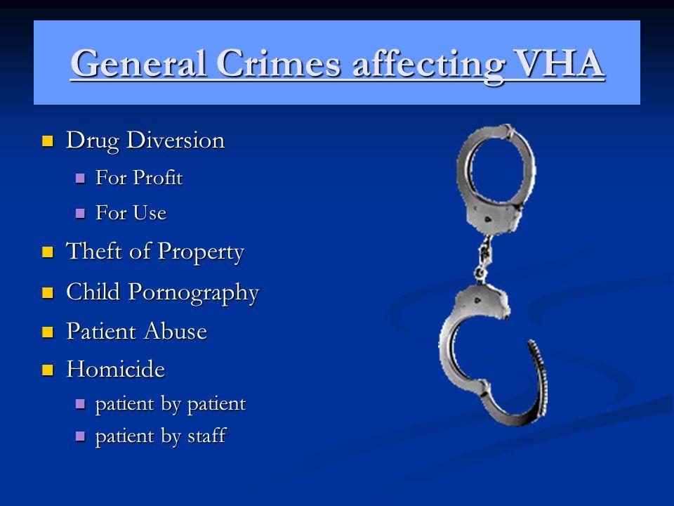 General Crimes affecting VHA Drug Diversion Drug Diversion For Profit For Profit For Use For Use Theft of Property Theft of Property Child Pornography