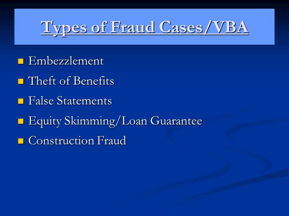 Types of Fraud Cases/VBA Embezzlement Embezzlement Theft of Benefits Theft of Benefits False Statements False Statements Equity Skimming/Loan Guarante