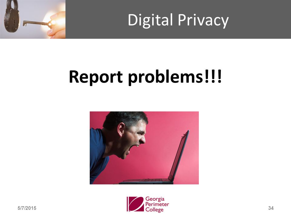 Digital Privacy Report problems!!! 5/7/201534