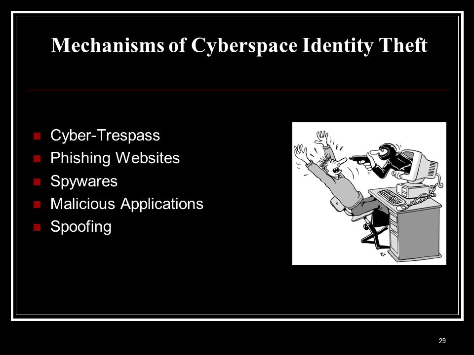 Mechanisms of Cyberspace Identity Theft Cyber-Trespass Phishing Websites Spywares Malicious Applications Spoofing 29