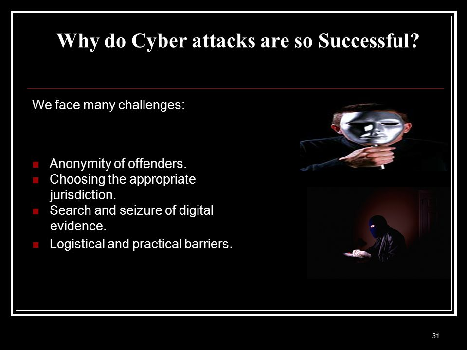 Why do Cyber attacks are so Successful. We face many challenges: Anonymity of offenders.