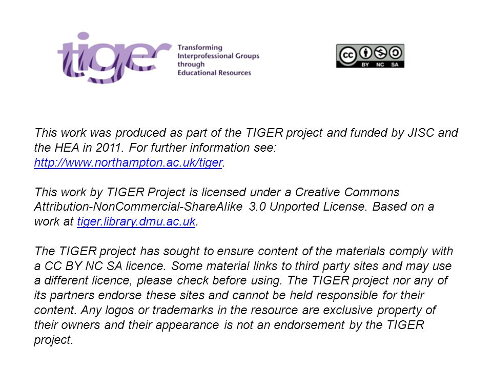 This work was produced as part of the TIGER project and funded by JISC and the HEA in 2011.