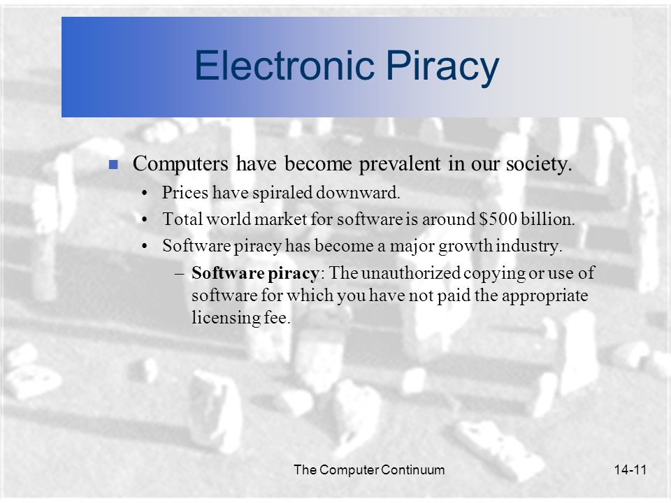 The Computer Continuum14-11 Electronic Piracy n Computers have become prevalent in our society.