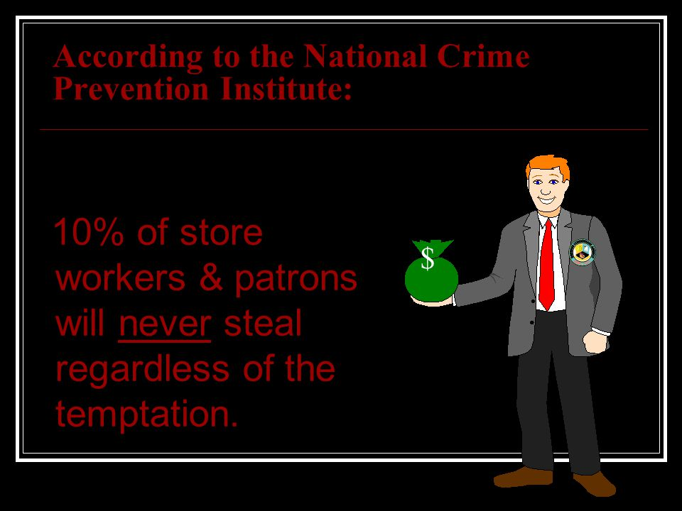 According to the National Crime Prevention Institute: 10% of store workers & patrons will never steal regardless of the temptation. $