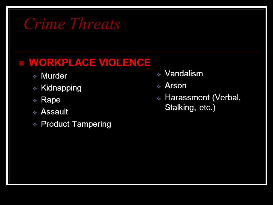 Crime Threats WORKPLACE VIOLENCE  Murder  Kidnapping  Rape  Assault  Product Tampering  Vandalism  Arson  Harassment (Verbal, Stalking, etc.)