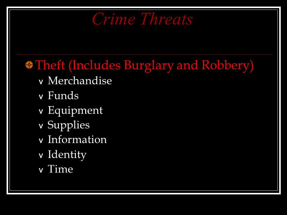 Crime Threats Theft (Includes Burglary and Robbery) v Merchandise v Funds v Equipment v Supplies v Information v Identity v Time