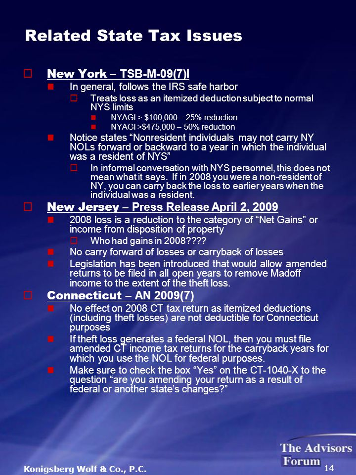 Konigsberg Wolf & Co., P.C. 14 Related State Tax Issues  New York – TSB-M-09(7)I In general, follows the IRS safe harbor  Treats loss as an itemized