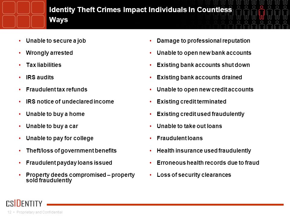 12 Proprietary and Confidential Identity Theft Crimes Impact Individuals In Countless Ways Unable to secure a job Wrongly arrested Tax liabilities IRS audits Fraudulent tax refunds IRS notice of undeclared income Unable to buy a home Unable to buy a car Unable to pay for college Theft/loss of government benefits Fraudulent payday loans issued Property deeds compromised – property sold fraudulently Damage to professional reputation Unable to open new bank accounts Existing bank accounts shut down Existing bank accounts drained Unable to open new credit accounts Existing credit terminated Existing credit used fraudulently Unable to take out loans Fraudulent loans Health insurance used fraudulently Erroneous health records due to fraud Loss of security clearances
