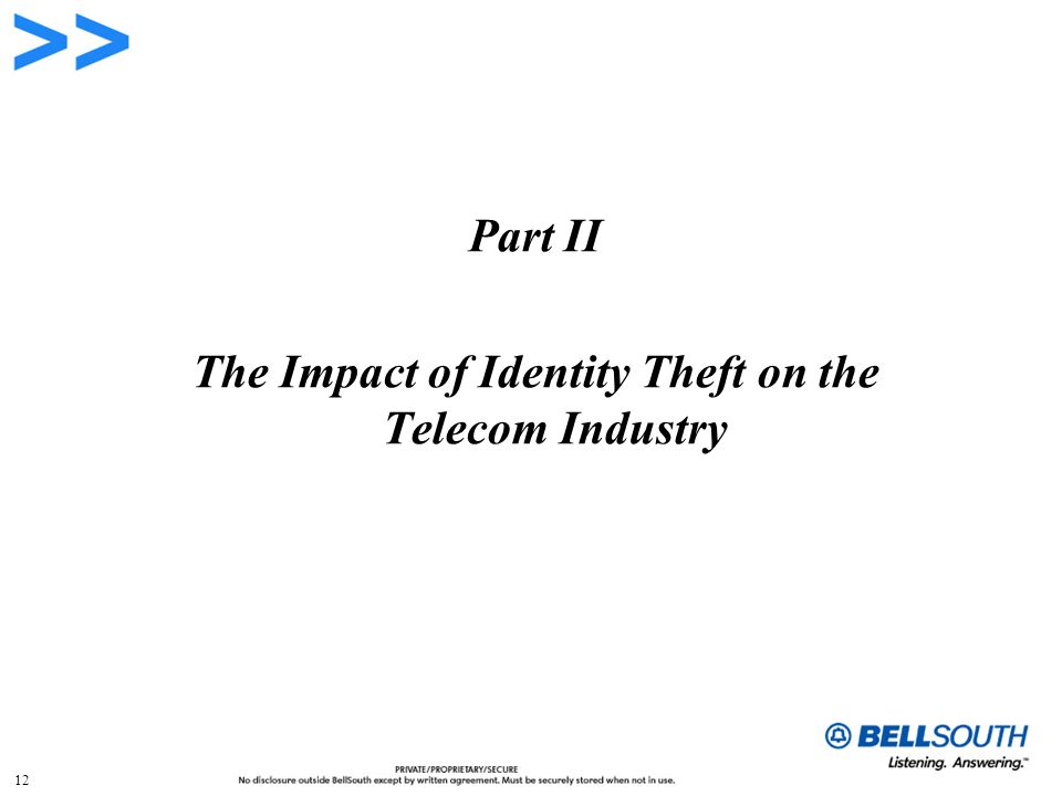 12 Part II The Impact of Identity Theft on the Telecom Industry