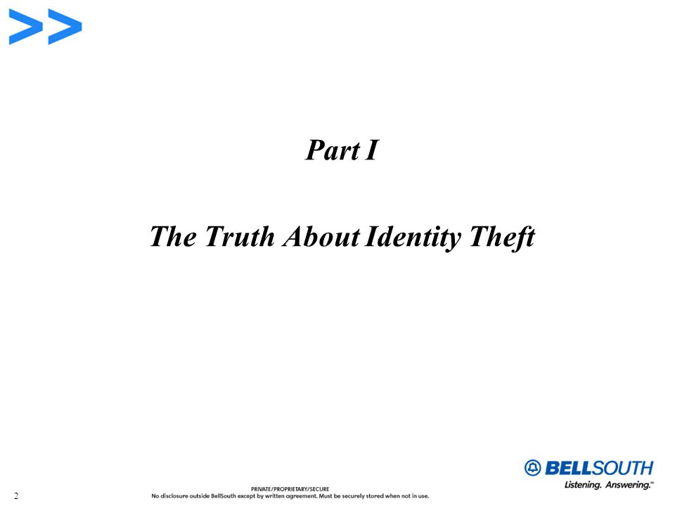 2 Part I The Truth About Identity Theft