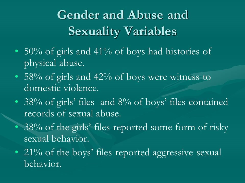 Gender and Abuse and Sexuality Variables 50% of girls and 41% of boys had histories of physical abuse.