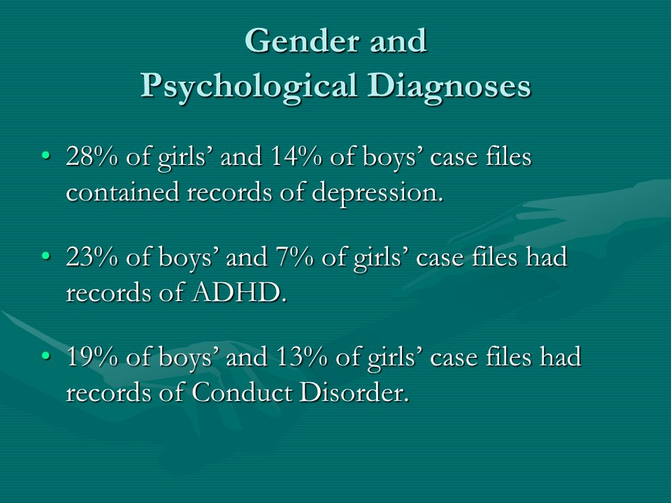 Gender and Psychological Diagnoses 28% of girls' and 14% of boys' case files contained records of depression.28% of girls' and 14% of boys' case files contained records of depression.