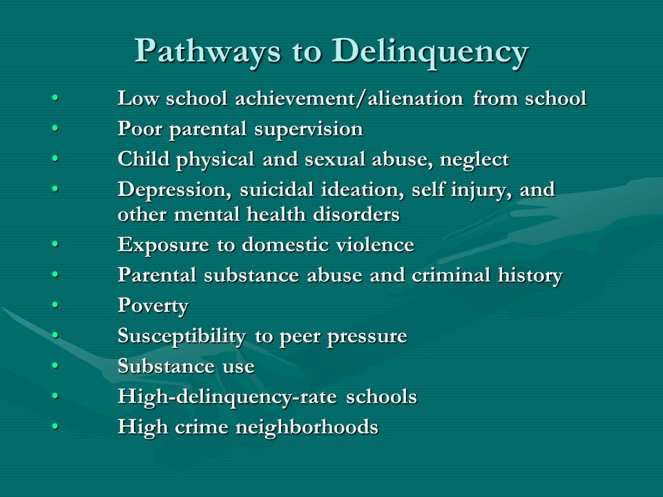 Pathways to Delinquency Low school achievement/alienation from schoolLow school achievement/alienation from school Poor parental supervisionPoor paren