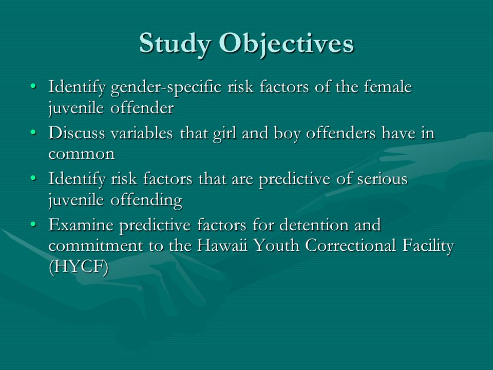 Study Objectives Identify gender-specific risk factors of the female juvenile offenderIdentify gender-specific risk factors of the female juvenile off
