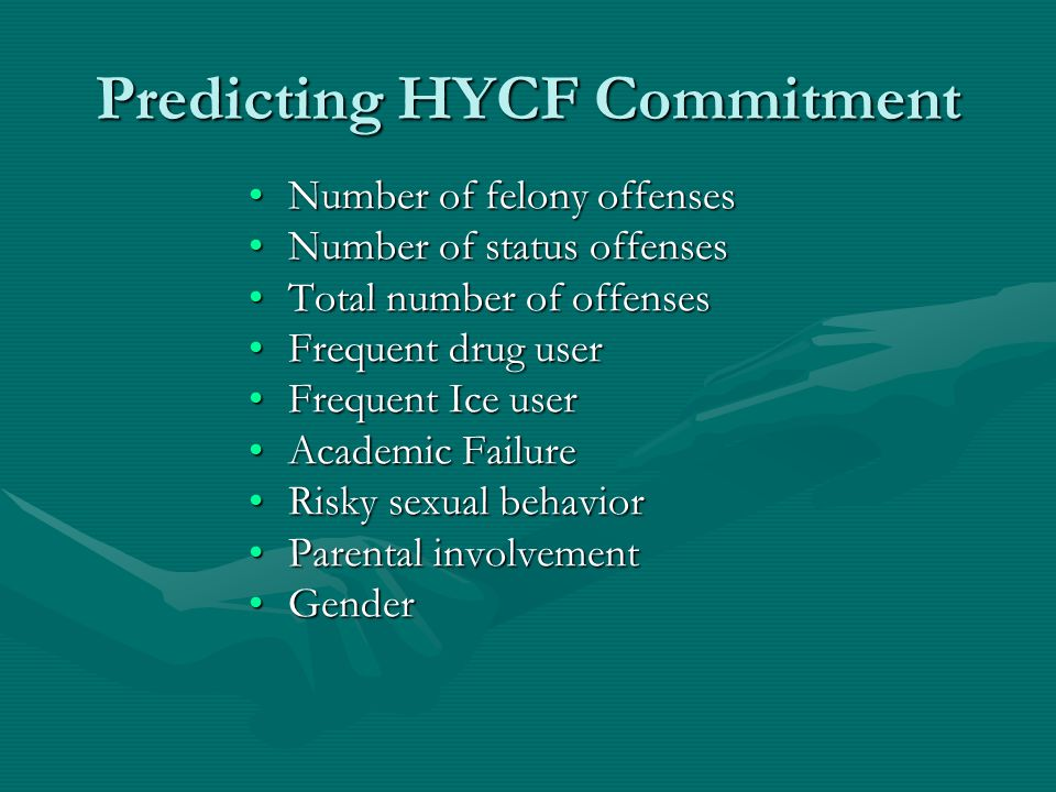 Predicting HYCF Commitment Number of felony offensesNumber of felony offenses Number of status offensesNumber of status offenses Total number of offensesTotal number of offenses Frequent drug userFrequent drug user Frequent Ice userFrequent Ice user Academic FailureAcademic Failure Risky sexual behaviorRisky sexual behavior Parental involvementParental involvement GenderGender