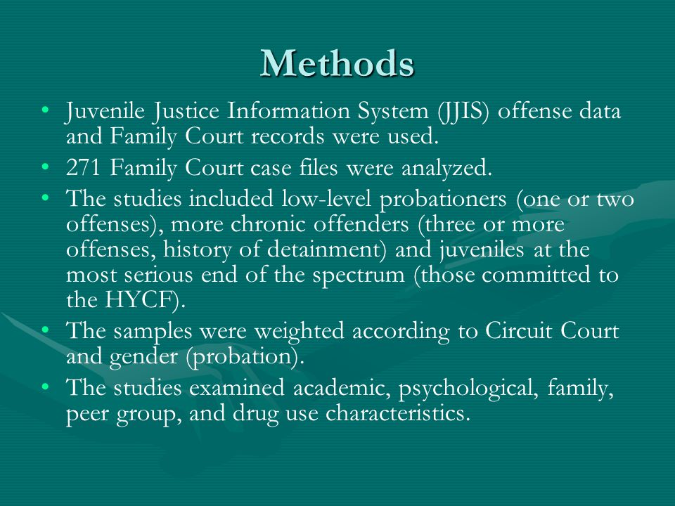 Methods Juvenile Justice Information System (JJIS) offense data and Family Court records were used.