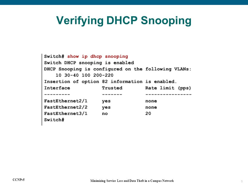 CCNPv5 Minimizing Service Loss and Data Theft in a Campus Network 8 Verifying DHCP Snooping