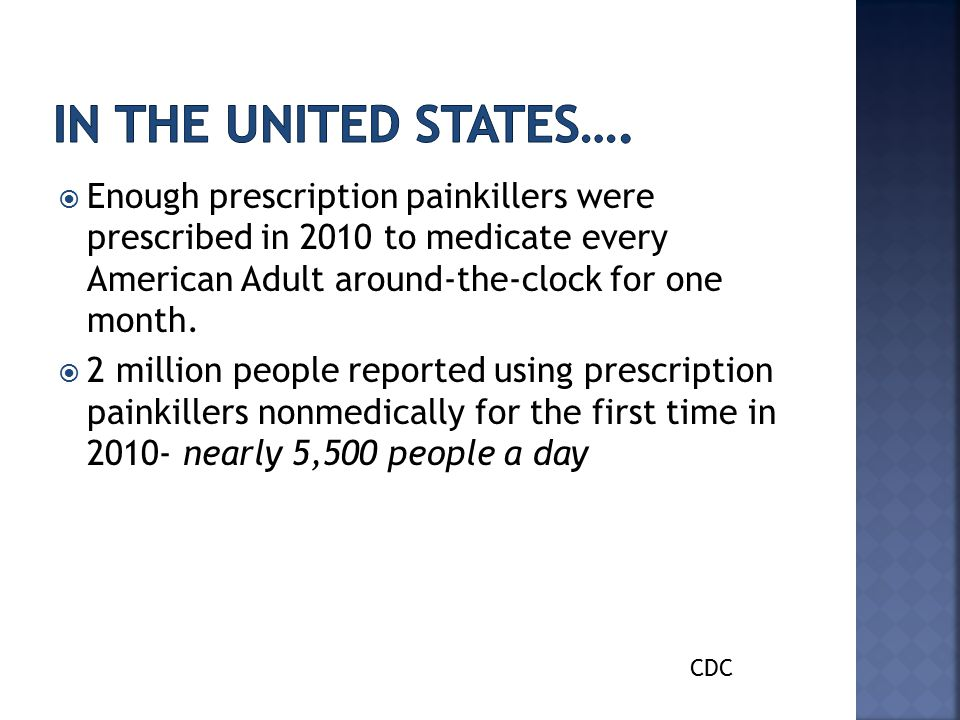  Enough prescription painkillers were prescribed in 2010 to medicate every American Adult around-the-clock for one month.