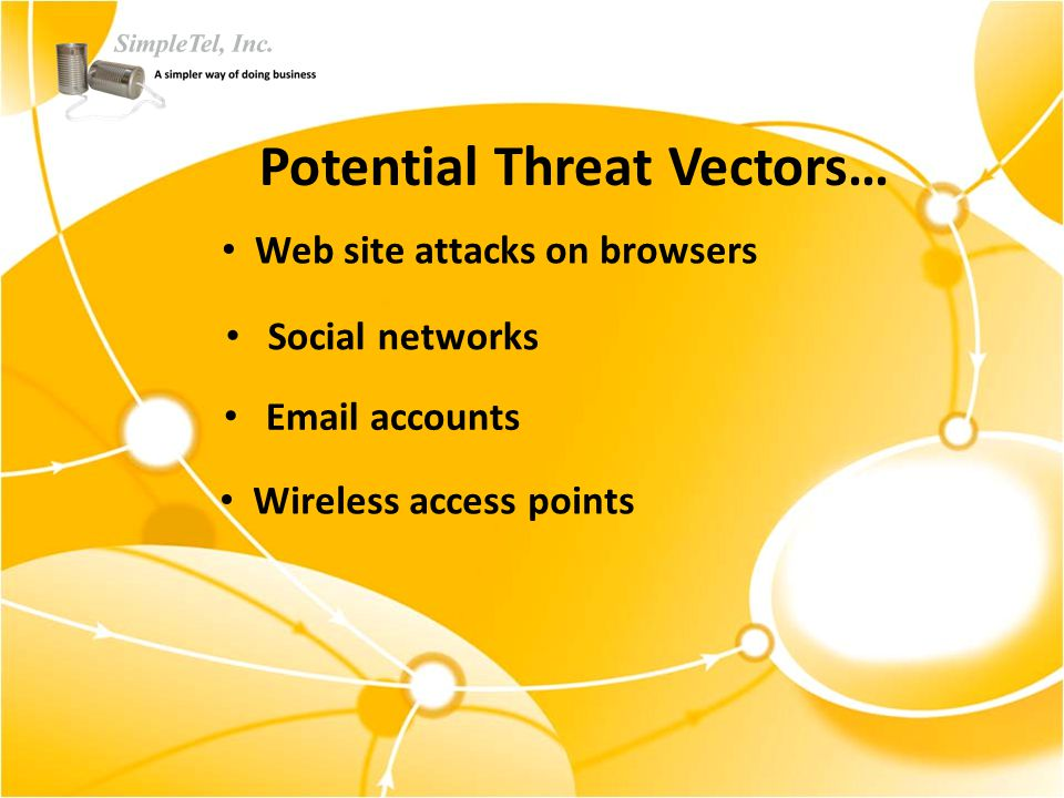 Potential Threat Vectors… Wireless access points Email accounts Social networks Web site attacks on browsers