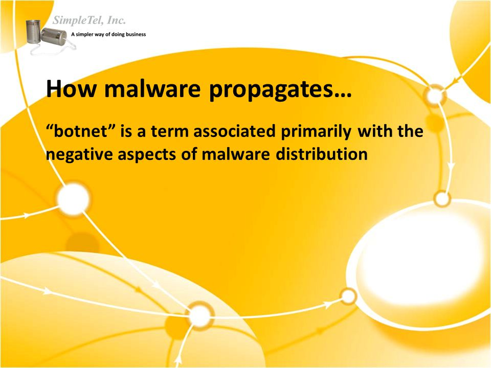 How malware propagates… botnet is a term associated primarily with the negative aspects of malware distribution
