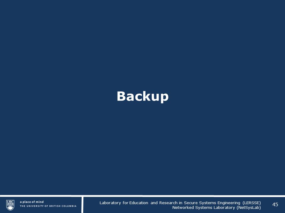 Laboratory for Education and Research in Secure Systems Engineering (LERSSE) Networked Systems Laboratory (NetSysLab) Backup 45