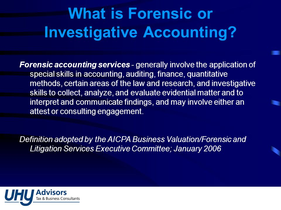 What is Forensic or Investigative Accounting.