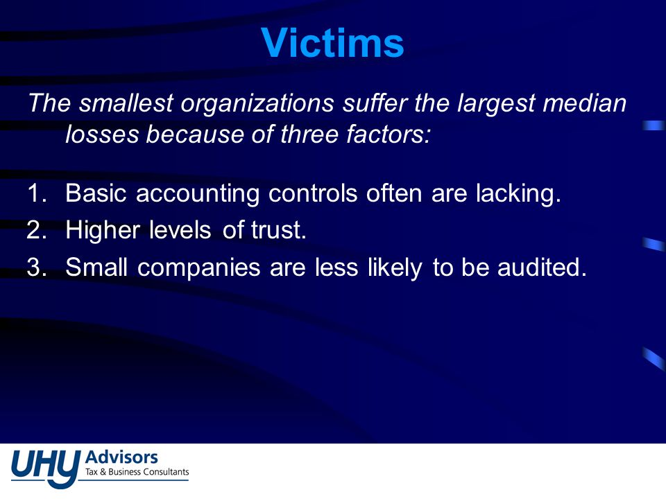 Victims The smallest organizations suffer the largest median losses because of three factors: 1.Basic accounting controls often are lacking.