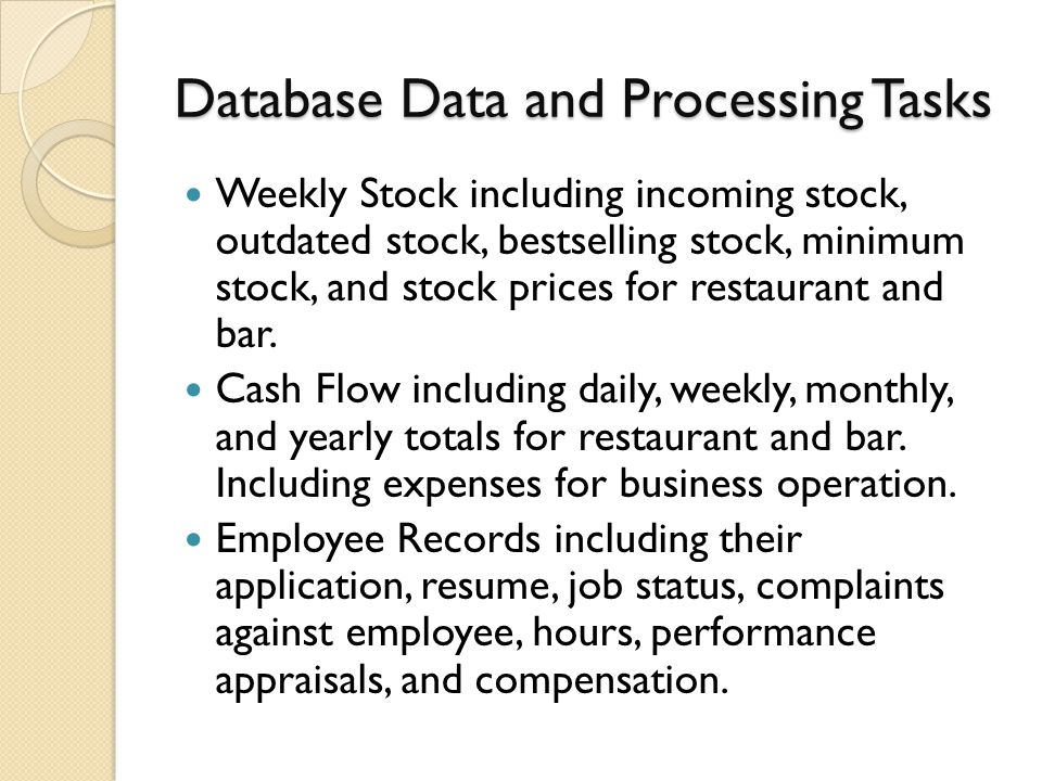 Database Data and Processing Tasks Weekly Stock including incoming stock, outdated stock, bestselling stock, minimum stock, and stock prices for restaurant and bar.