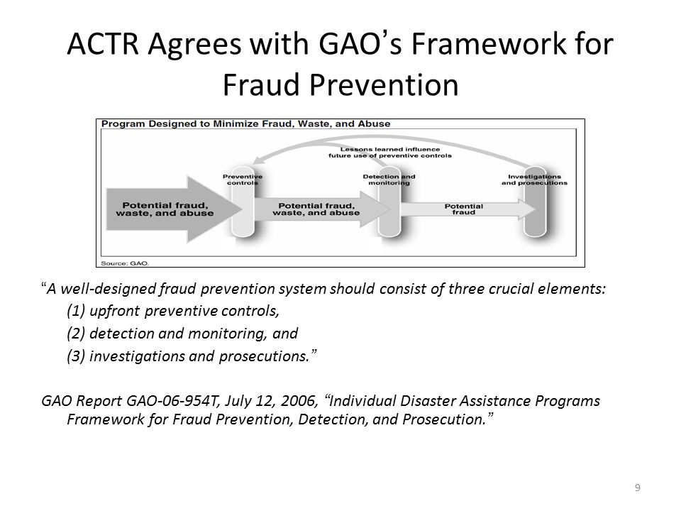 9 ACTR Agrees with GAO's Framework for Fraud Prevention A well-designed fraud prevention system should consist of three crucial elements: (1) upfront preventive controls, (2) detection and monitoring, and (3) investigations and prosecutions. GAO Report GAO-06-954T, July 12, 2006, Individual Disaster Assistance Programs Framework for Fraud Prevention, Detection, and Prosecution.