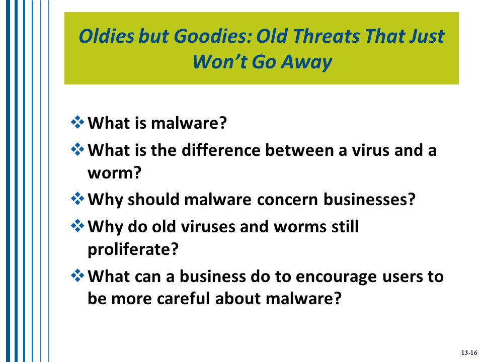13-16 Oldies but Goodies: Old Threats That Just Won't Go Away  What is malware.