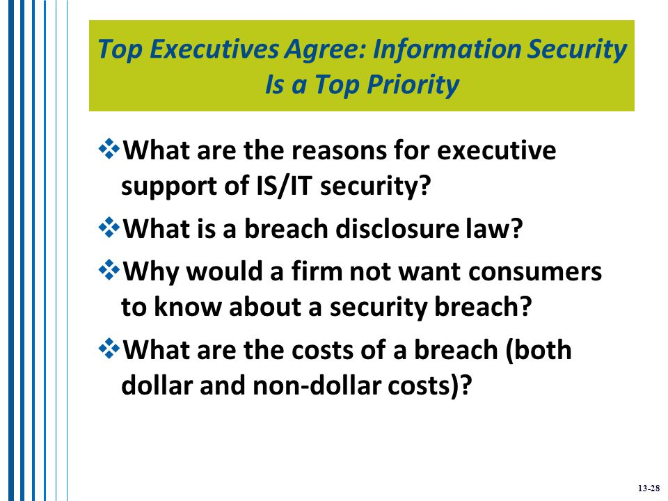13-28 Top Executives Agree: Information Security Is a Top Priority  What are the reasons for executive support of IS/IT security.