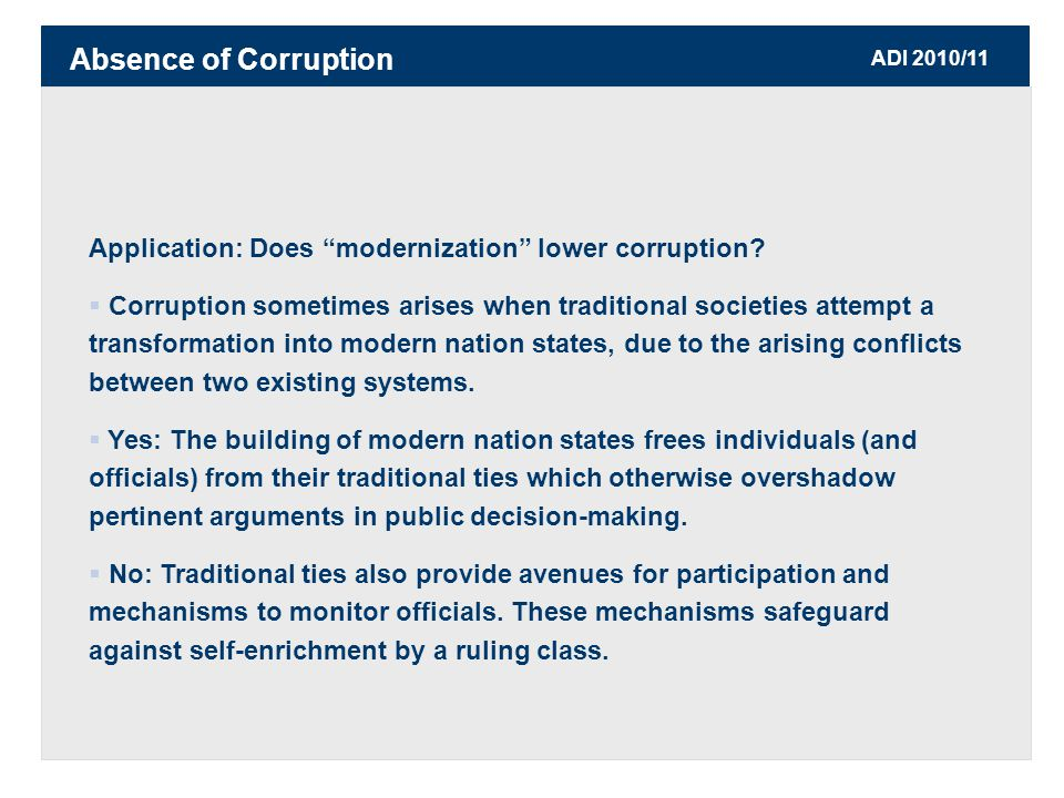 ADI 2010/11 Application: Does modernization lower corruption.