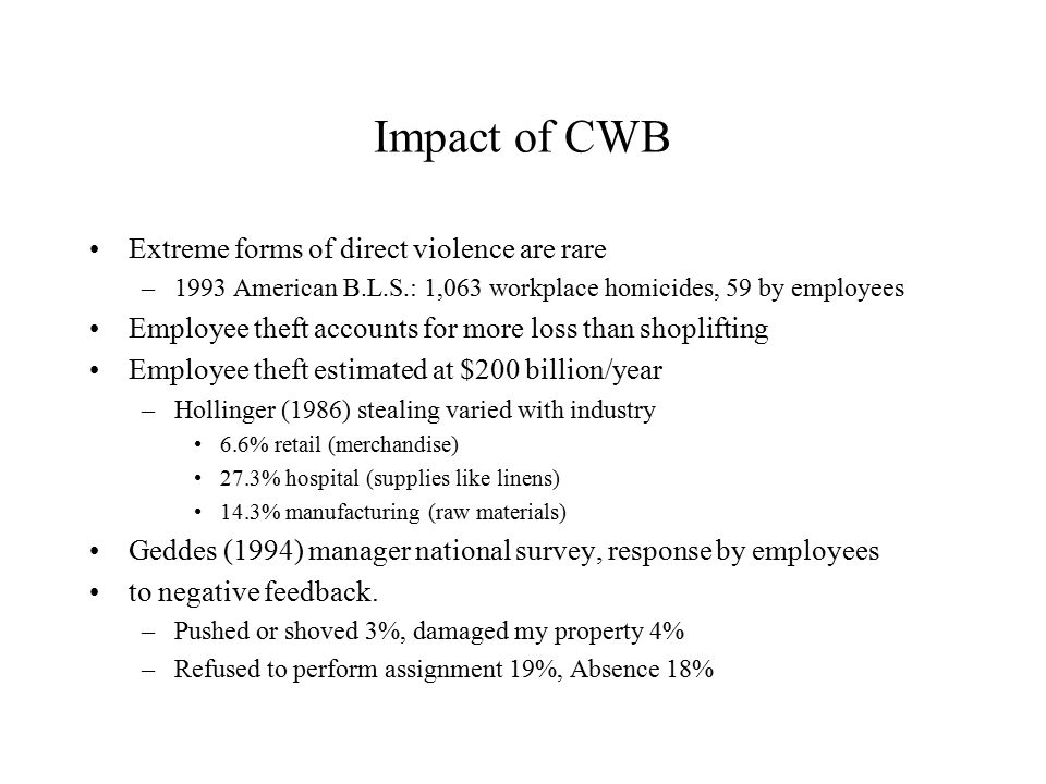 Impact of CWB Extreme forms of direct violence are rare –1993 American B.L.S.: 1,063 workplace homicides, 59 by employees Employee theft accounts for