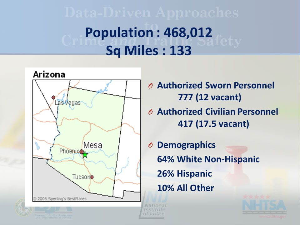 Population : 468,012 Sq Miles : 133 O Demographics 64% White Non-Hispanic 26% Hispanic 10% All Other O Authorized Sworn Personnel 777 (12 vacant) O Authorized Civilian Personnel 417 (17.5 vacant)