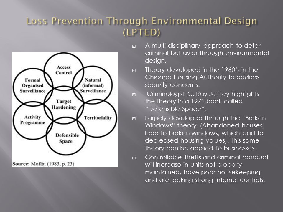  A multi-disciplinary approach to deter criminal behavior through environmental design.