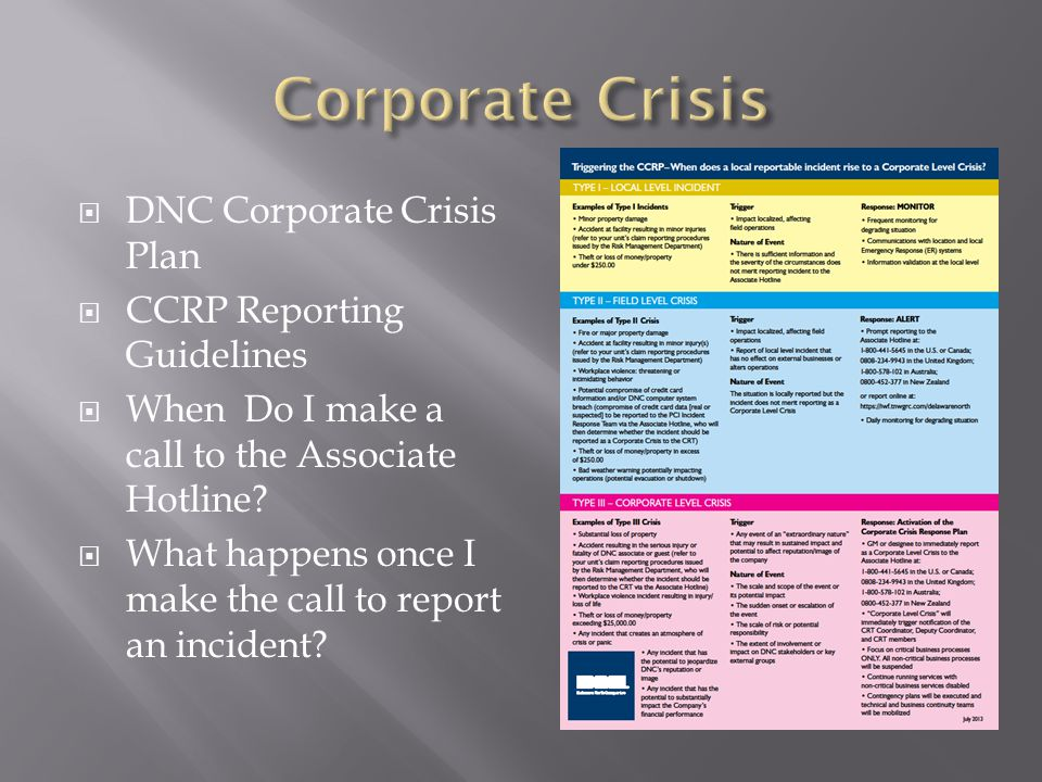  DNC Corporate Crisis Plan  CCRP Reporting Guidelines  When Do I make a call to the Associate Hotline.
