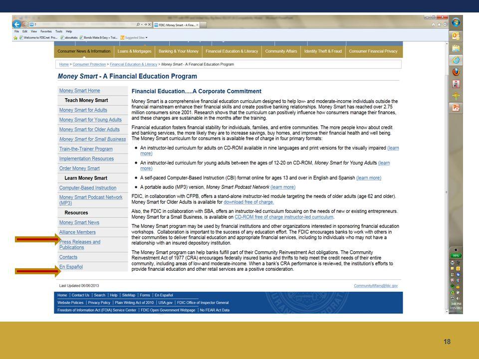 18 Money Smart Website www.fdic.gov/moneysmart www.fdic.gov/moneysmart