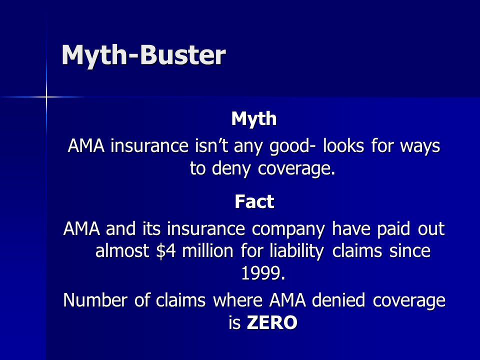 Myth-Buster Myth AMA insurance isn't any good- looks for ways to deny coverage.