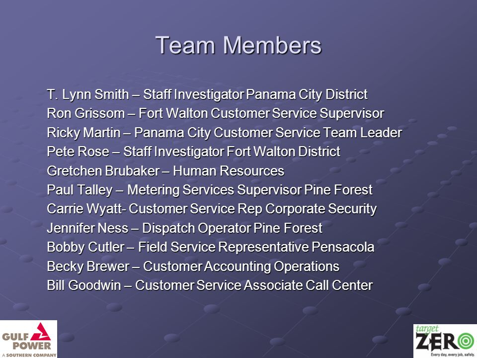 Team Members T. Lynn Smith – Staff Investigator Panama City District Ron Grissom – Fort Walton Customer Service Supervisor Ricky Martin – Panama City