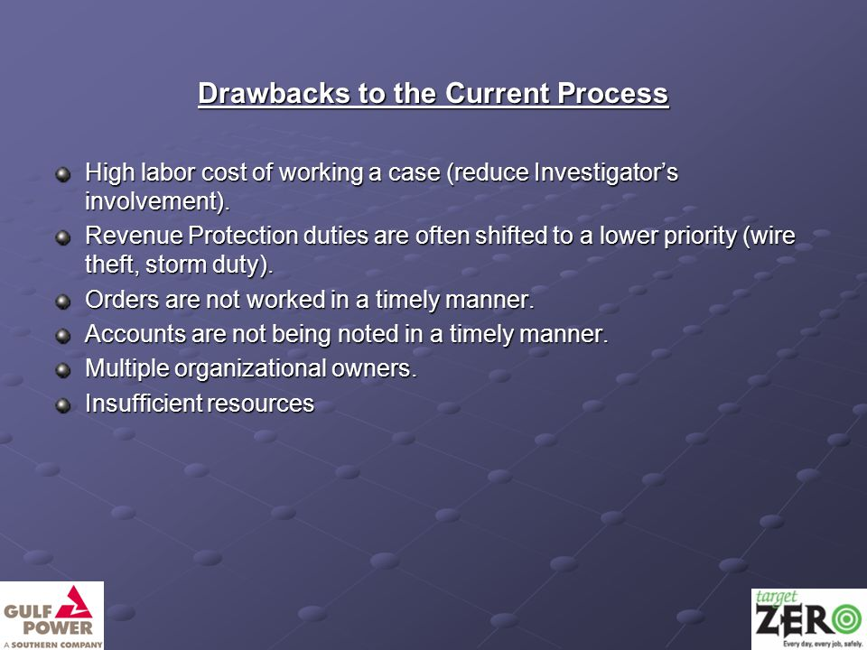 Drawbacks to the Current Process High labor cost of working a case (reduce Investigator's involvement).