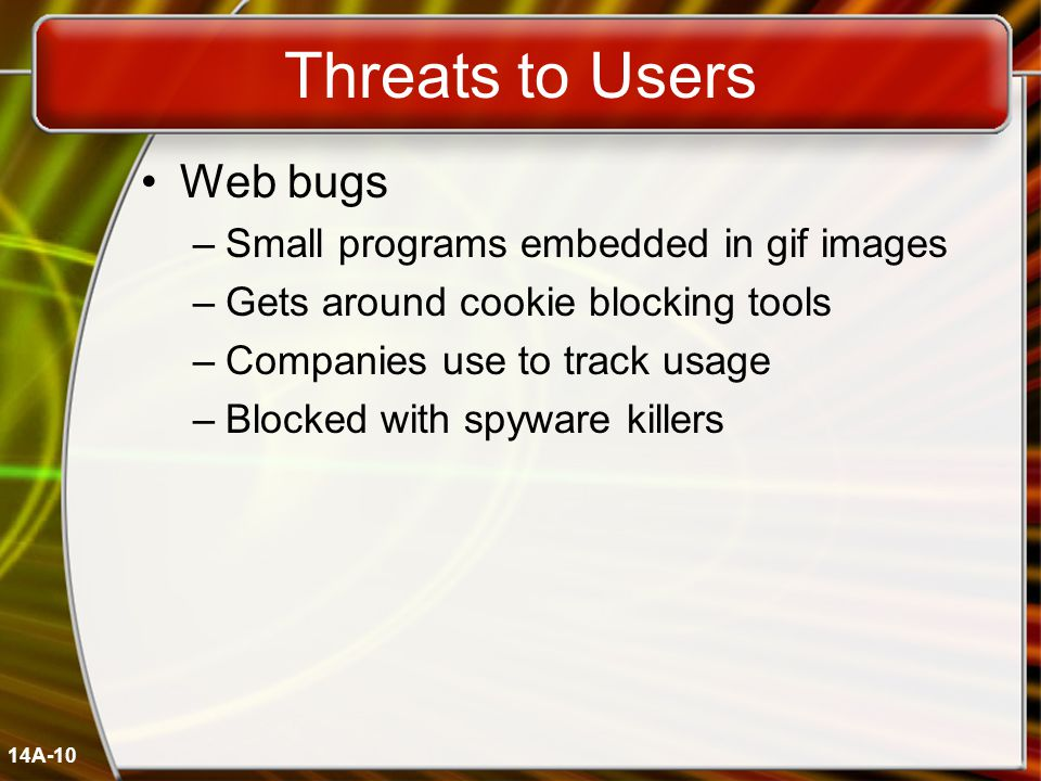 14A-10 Threats to Users Web bugs –Small programs embedded in gif images –Gets around cookie blocking tools –Companies use to track usage –Blocked with